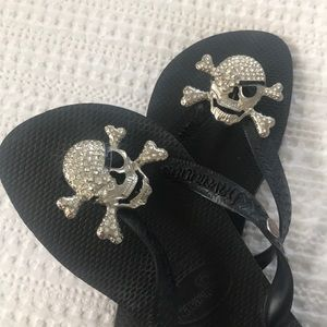 🖤☠️ [Havaianas] Black Crystal Skull Flip Flops